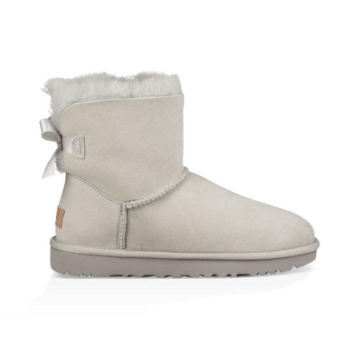 Boots cuir, fourrées laine, mini bailey bow ii gris Ugg
