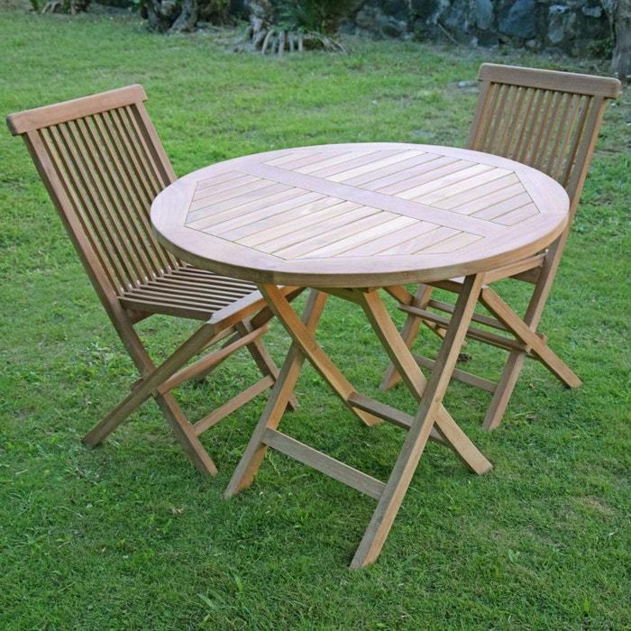 Salon de jardin en teck ecograde daru, table pliante ronde d. 90 cm ...