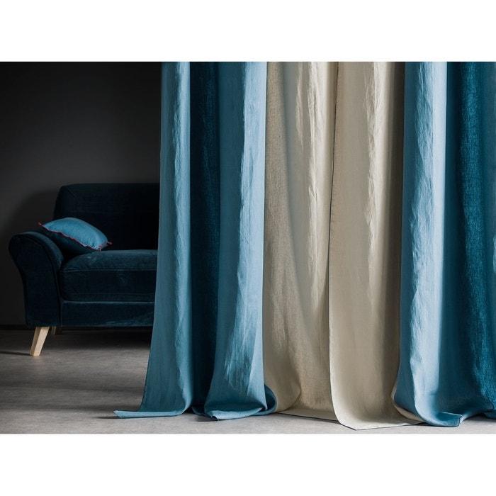 rideau droit en 100 lin lav bicolore canard lin bourdon contrast canard oeuillets en metal. Black Bedroom Furniture Sets. Home Design Ideas