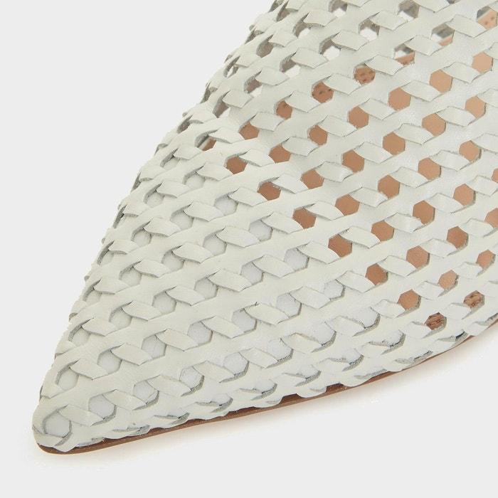 Chaussures plates tressées ouvertes sur larrière - darning blanc cuir Dune London