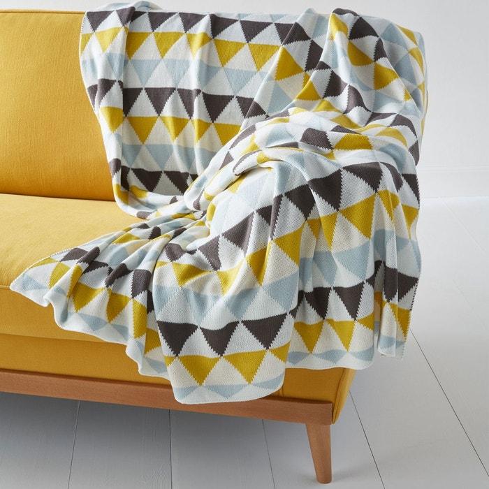 plaid tricot jacquard odda ecru ciel gris jaune la. Black Bedroom Furniture Sets. Home Design Ideas