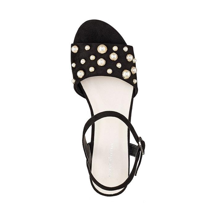Sandales détail bijoux pied large 38-45 noir Castaluna