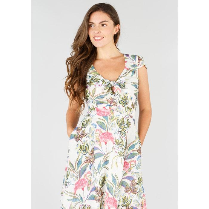 Vestido recto con estampado de flores y largo midi, 3/4  RENE DERHY image 0