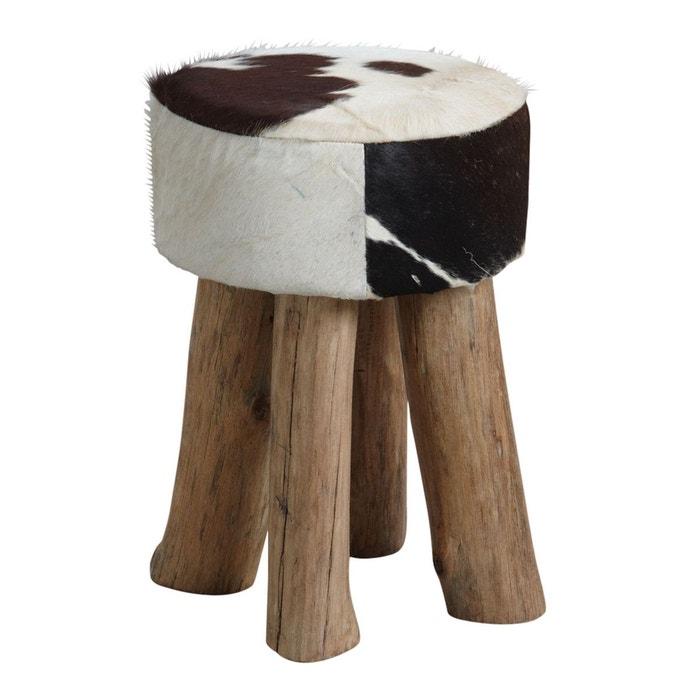 tabouret rond en peau de vache naturel aubry gaspard la redoute. Black Bedroom Furniture Sets. Home Design Ideas