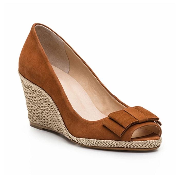 Sandales compensées, cuir, mayana2 nub cognac Cosmoparis