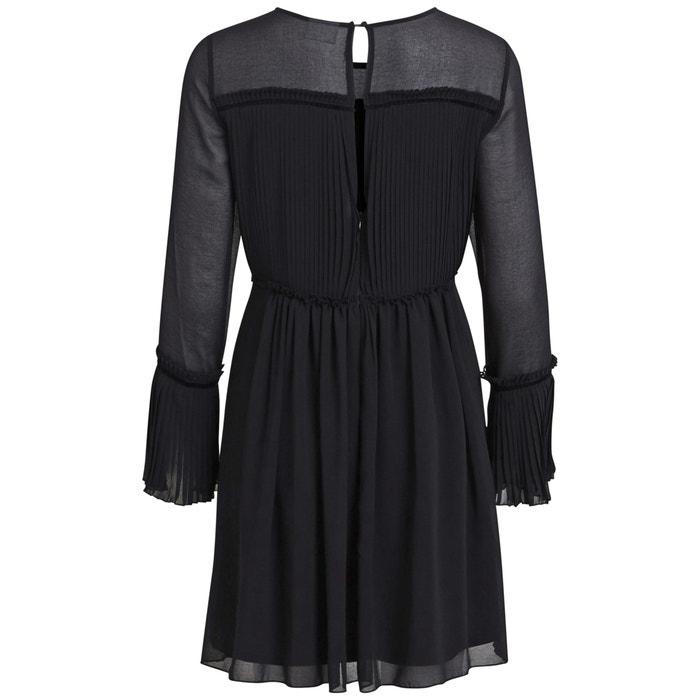 Vestido plisado con VILA 4 3 largo liso midi dxw4q4fO