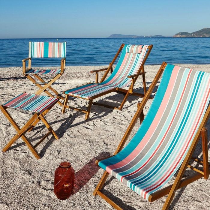 Chaise longue acacia et toile amezza la redoute for La redoute chaise