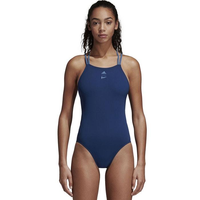 Maillot de bain 1 pièce piscine à bretelles bleu Adidas Performance   La  Redoute 5fc2feac3690