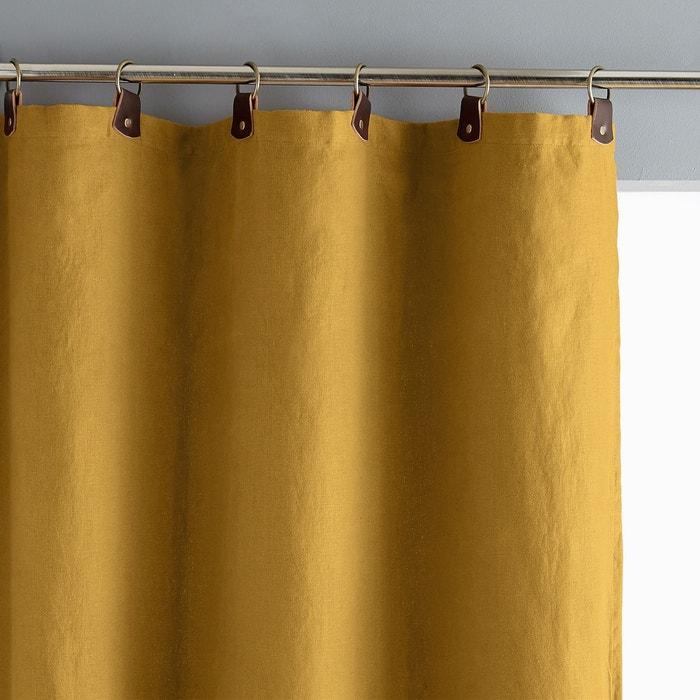 rideau lin lav passants cuir private jaune curry am pm la redoute. Black Bedroom Furniture Sets. Home Design Ideas