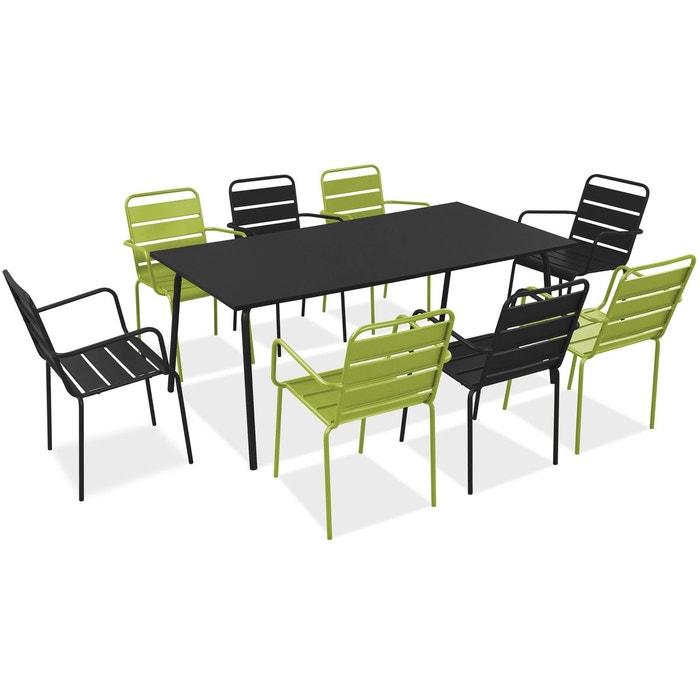 Salon de jardin en métal 1 table et 8 fauteuils, Palavas