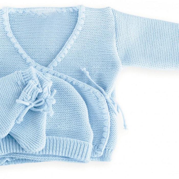 ee5dd5116a4d Ensemble 3 pièces garçon - brassière naissance, bonnet et chaussons en laine  bleu Les Kinousses   La Redoute