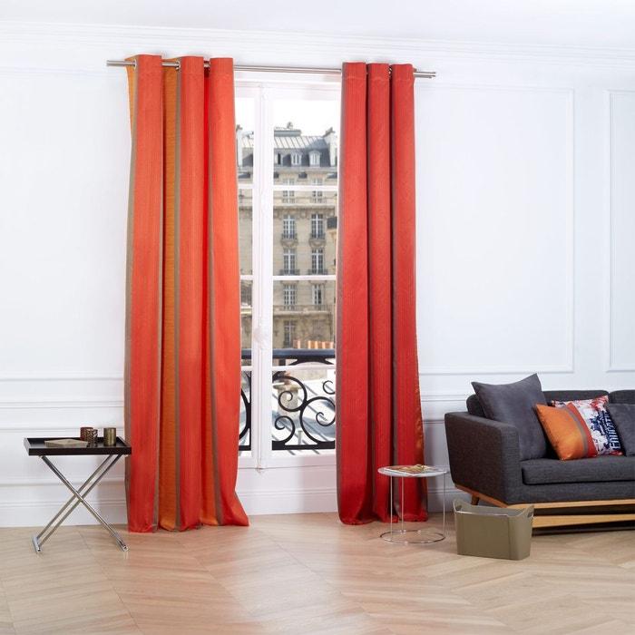 Rideau oeillets polyester atina orange et rouge orange et rouge madura la redoute for Rideaux voilages sans oeillets