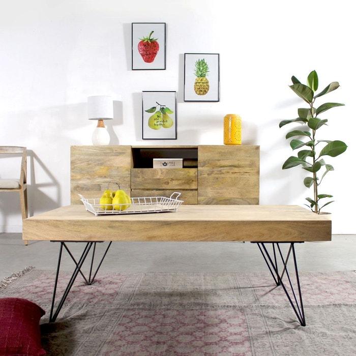 table basse bois metal style scandinave bt0278x naturel made in meubles la redoute. Black Bedroom Furniture Sets. Home Design Ideas