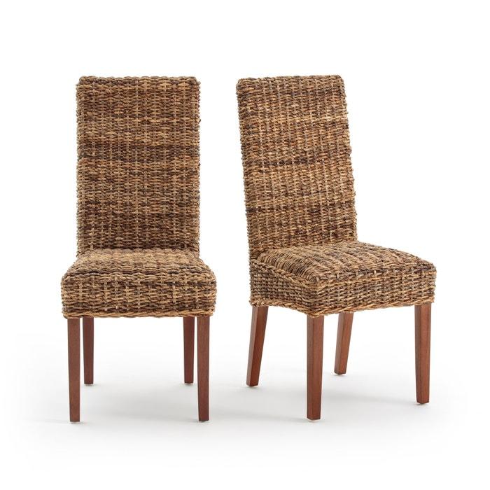 Confezione da 2 sedie in abaca con schienale alto, bangor naturale ...