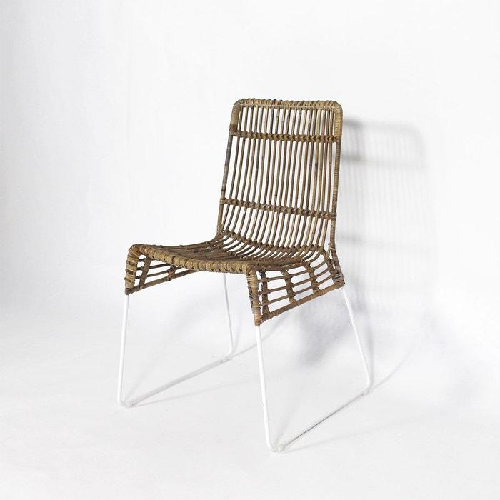 Chaise en rotin pieds en métal blanc     VDL - En Soldes  MADE IN MEUBLES image 0