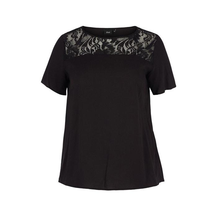 8d882650857e69 Kurzärmelige bluse mit spitzeneinsatz schwarz Zizzi