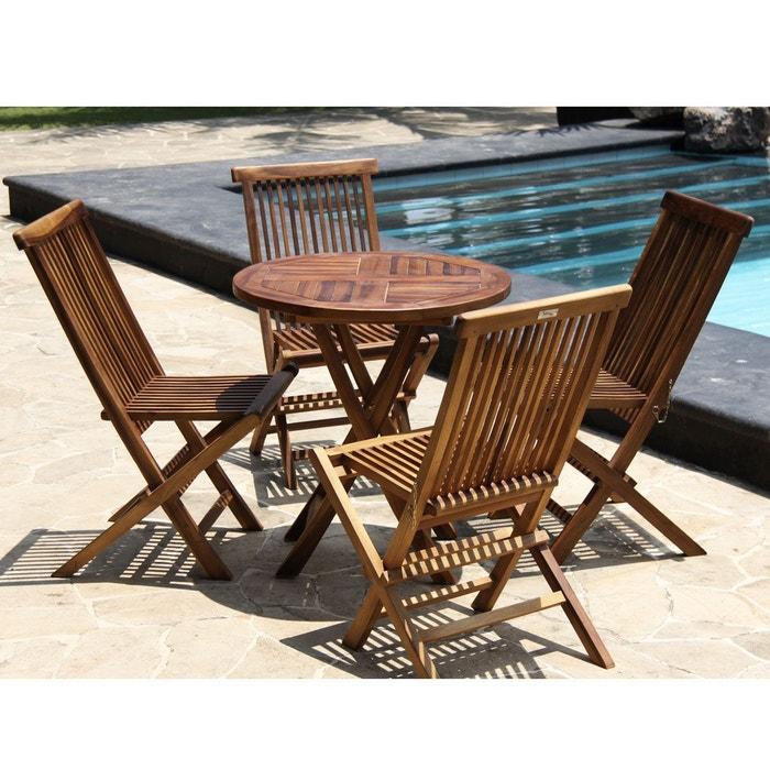 Salon de jardin en bois de teck huilé - table ronde + 4 chaises ...