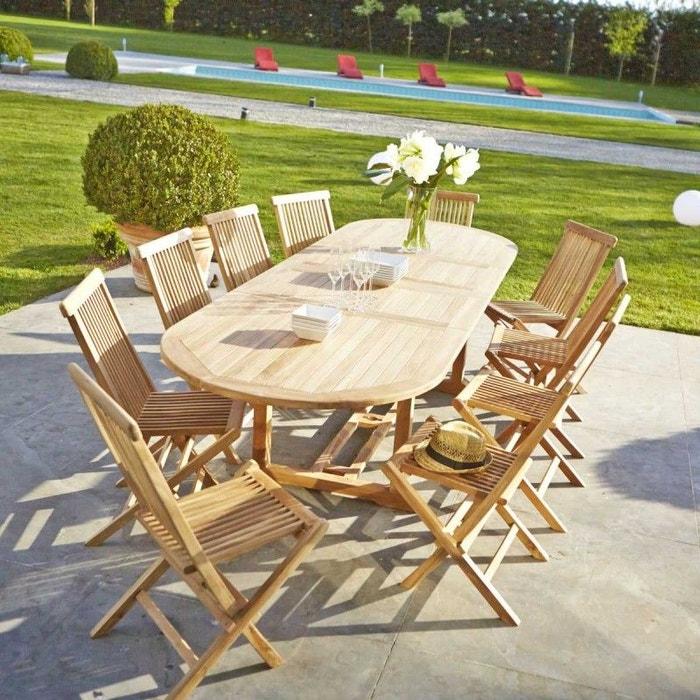 Salon de jardin en bois de teck 10 à 12 places teck brut Bois Dessus ...
