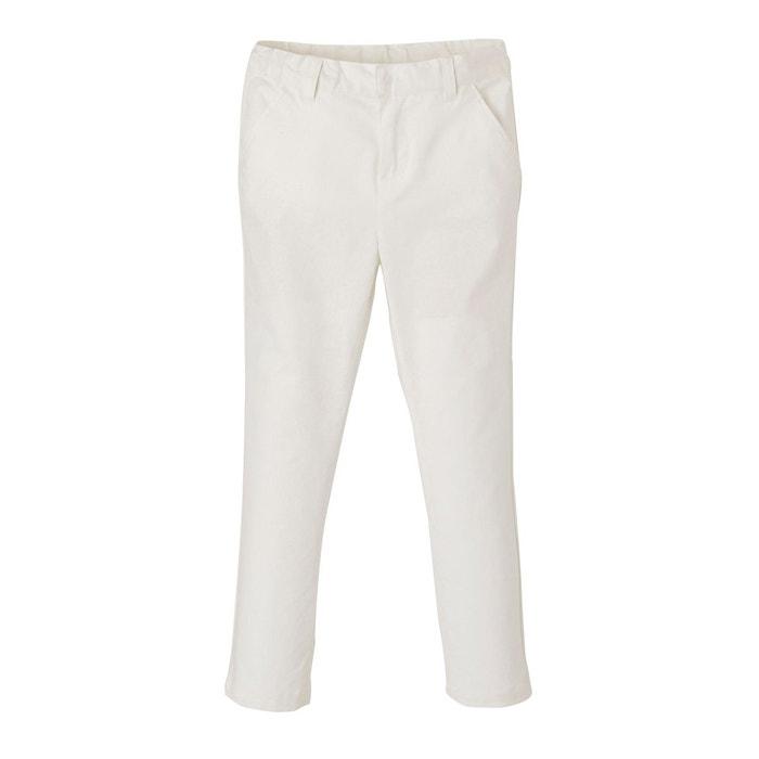 8bc862e349fde Pantalon chino garçon coton/lin blanc Vertbaudet | La Redoute