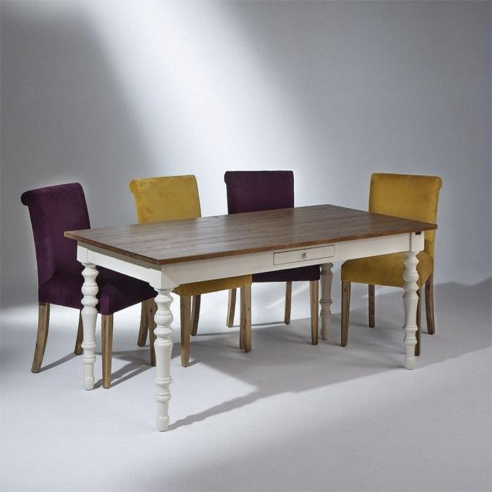 table en bois aden plateau bois et patine blanchie robin. Black Bedroom Furniture Sets. Home Design Ideas