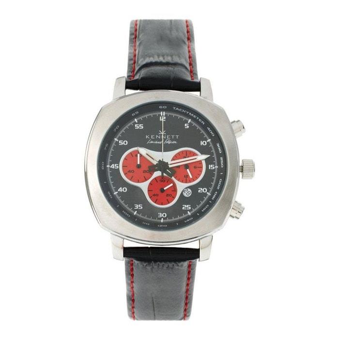 Montre, kennett, challenger black and red chronograph rouge Kennett | La Redoute