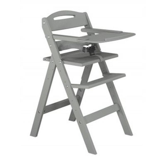 chaise haute b 233 b 233 en bois laqu 233 gris baby fox couleur unique baby fox la redoute
