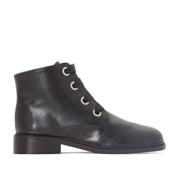Boots cuir détail œillets   noir La Redoute Collections   La Redoute