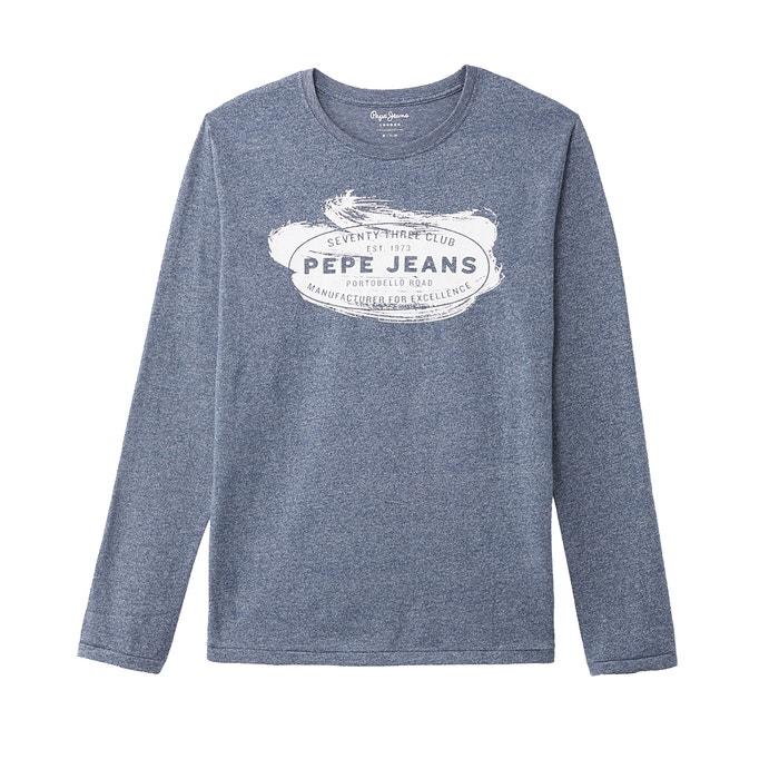 T-shirt scollo rotondo maniche lunghe fantasia davanti  PEPE JEANS image 0