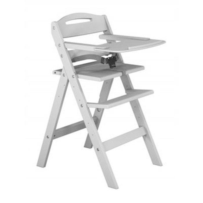 Chaise haute b b en bois laqu blanc baby fox couleur for Chaise haute bebe la redoute