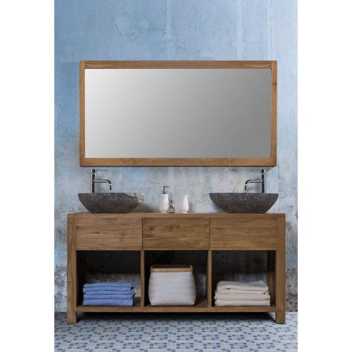 Ensemble de salle de bain en bois de teck 2 vasques et 1 miroir teck ...