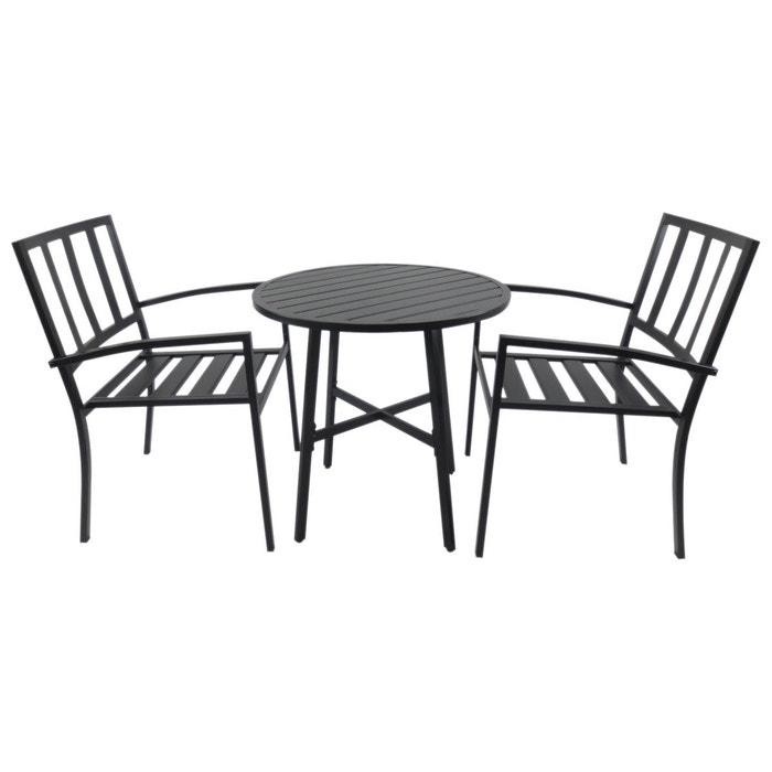 Salon de jardin bistrot 2 pers. + table ronde métal époxy noir noir ...