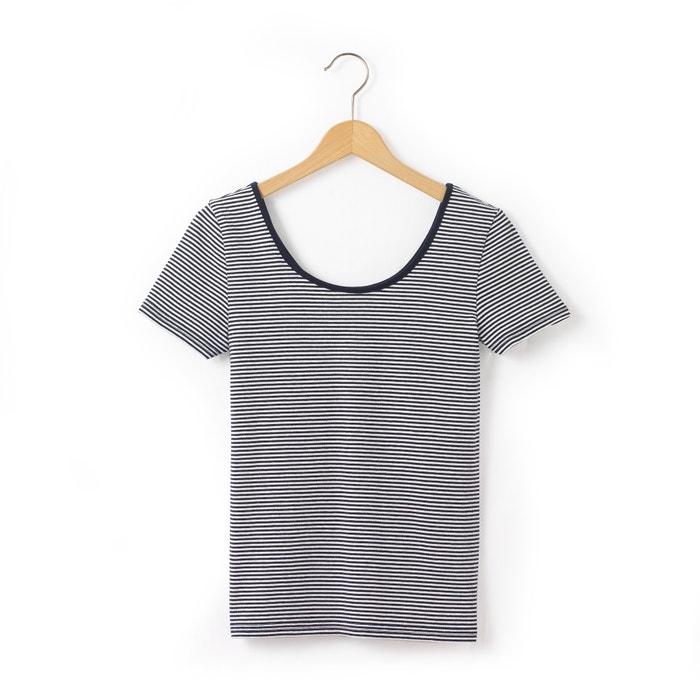 Camiseta a rayas escotada detrás 10-16 años  La Redoute Collections image 0