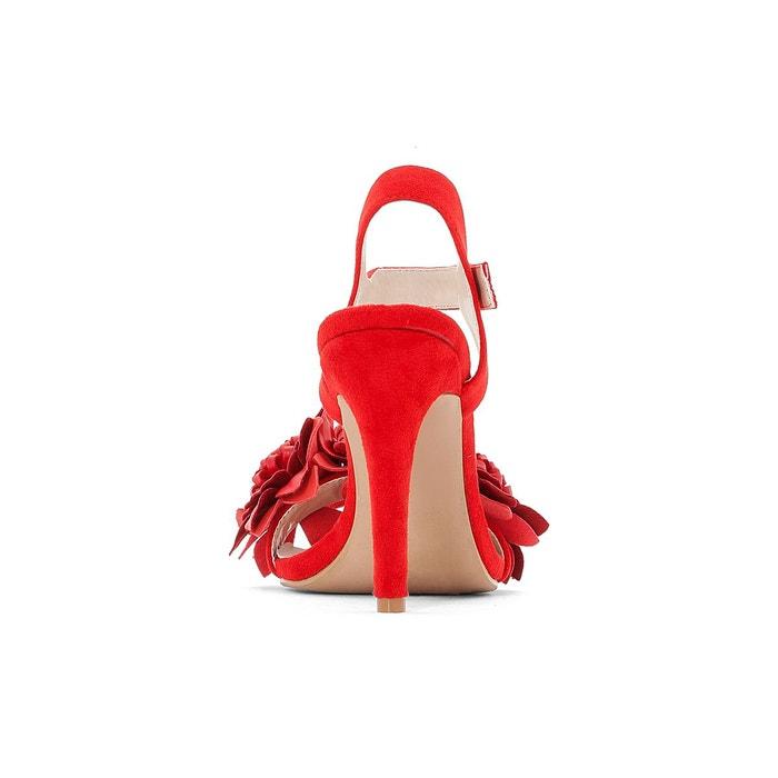 Sandales rouges bride à fleurs rouge Mademoiselle R