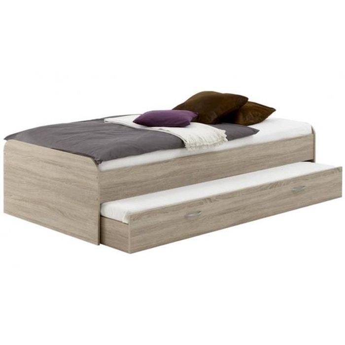 lit gigogne 90 x 200 hector ch ne marron declikdeco la. Black Bedroom Furniture Sets. Home Design Ideas