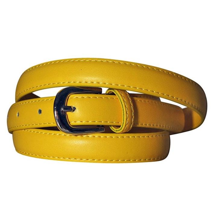 8e5bea236d4 Ceinture fine cuir jaune jaune Chapeau-Tendance