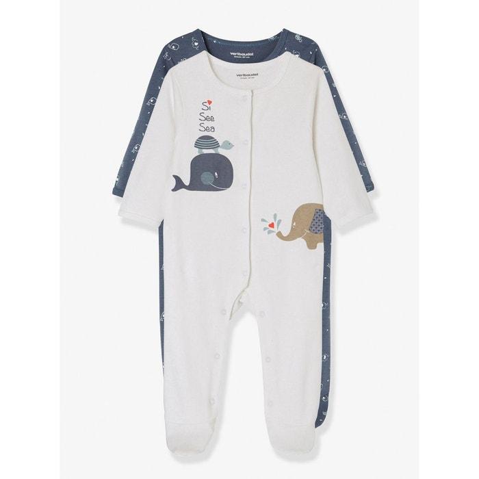 b3d3bf92b6b77 Lot de 2 pyjamas bébé en coton imprimé pressionnés devant bleu multicolore  Vertbaudet