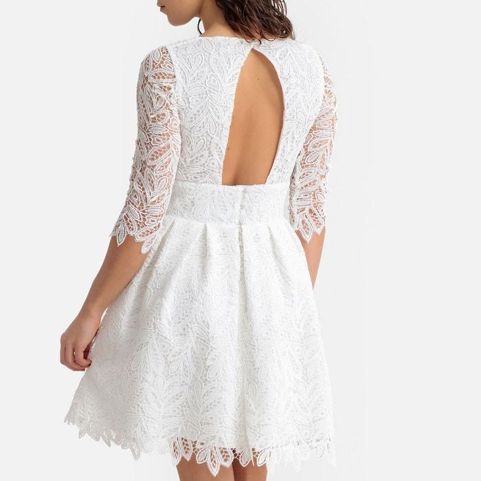 4a2290ad893 Robe de cérémonie en guipure blanc La Redoute Collections