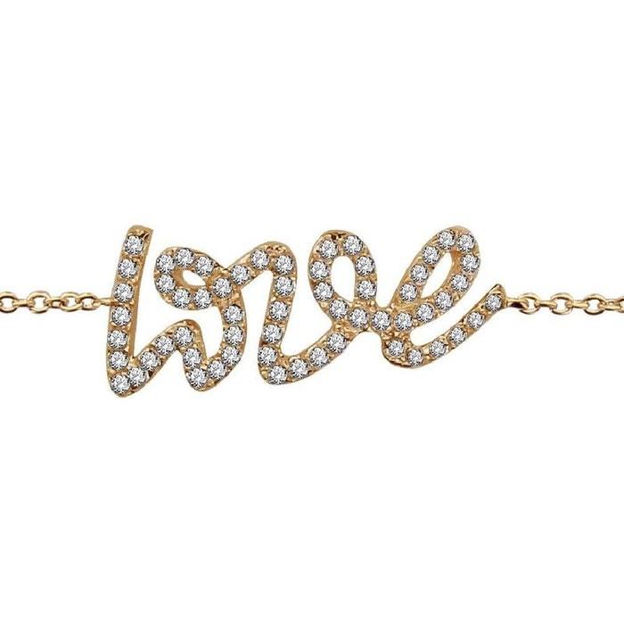 Bracelet femme longueur réglable: 16 à 18 cm chaîne texte love amour oxyde de zirconium blanc plaqué or 750 couleur unique So Chic Bijoux | La Redoute Magasin De Jeu En Ligne Jeu Combien TfxLQt