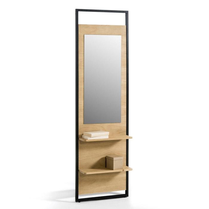 afbeelding Etagère met spiegel en 2 legplanken in massief dennenhout Hiba La Redoute Interieurs