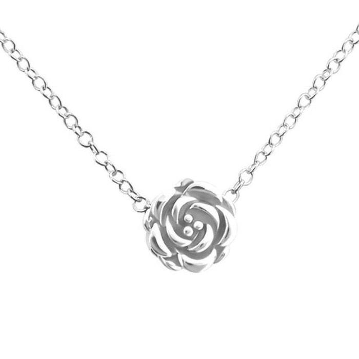Collier Chaine Longueur 45 Cm Rose Fleur Argent 925 So Chic Bijoux