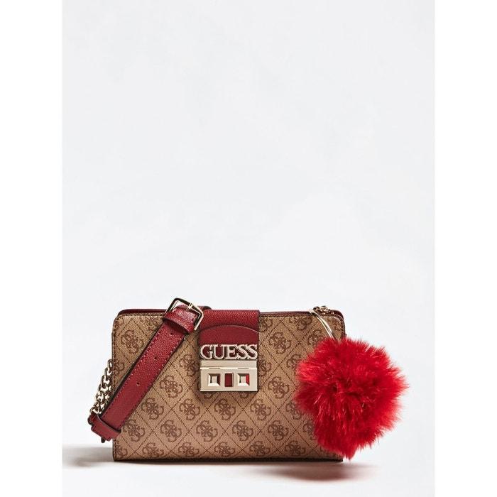 5811461ba528b Sac a bandouliere logo luxe marron Guess
