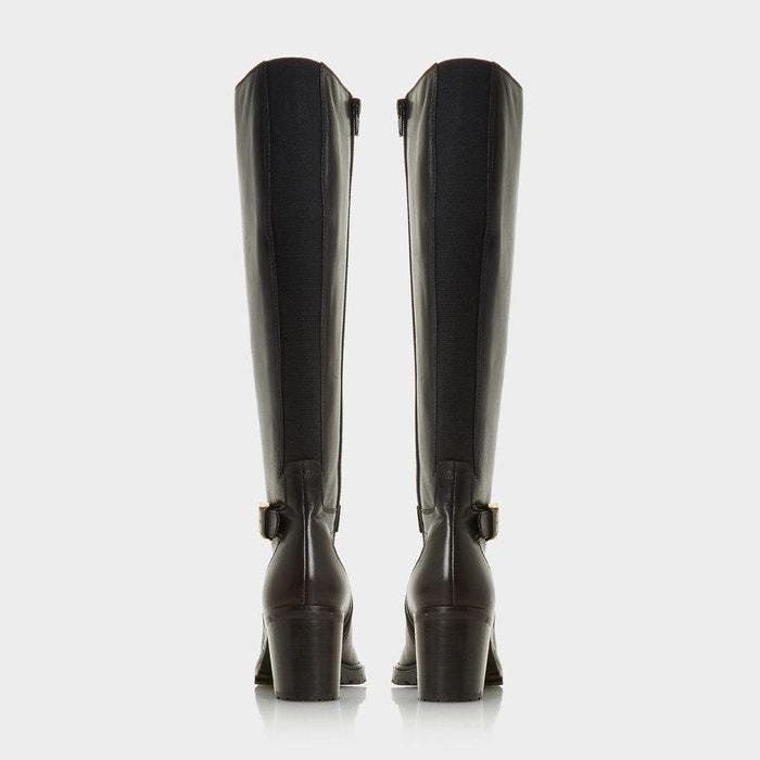 Bottes au genou avec bride à boucle - tyrell fauve cuir Dune London