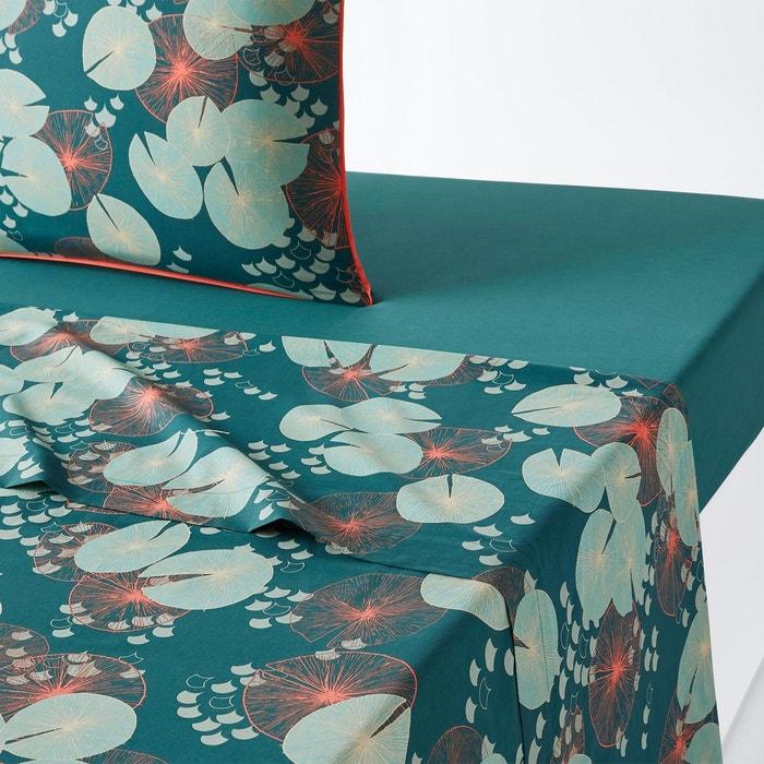 drap plat percale coton jardin d eau imprim la redoute interieurs la redoute. Black Bedroom Furniture Sets. Home Design Ideas