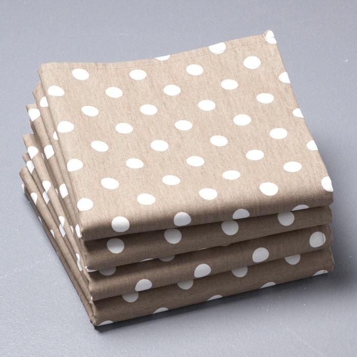 Serviettes de table pois pur coton lot de 4 garden party la redoute in - La redoute linge de table ...