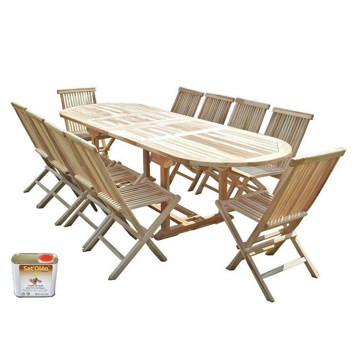 Ensemble salon de jardin en teck henua 10 chaises - bundle huile ...