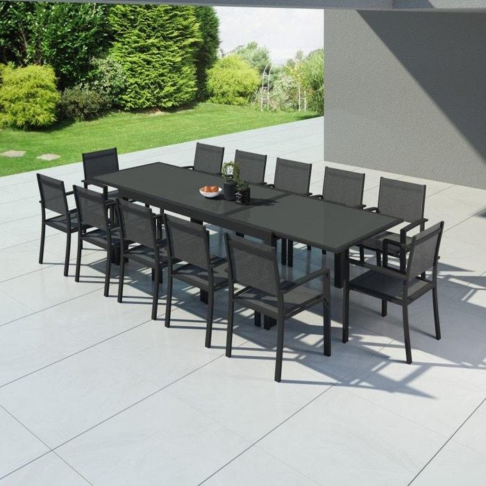 Table de jardin extensible aluminium 200/320cm + 12 fauteuils textilène -  HARA XXL