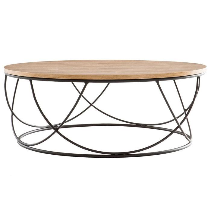 Table basse bois métal ronde 80 cm LACE