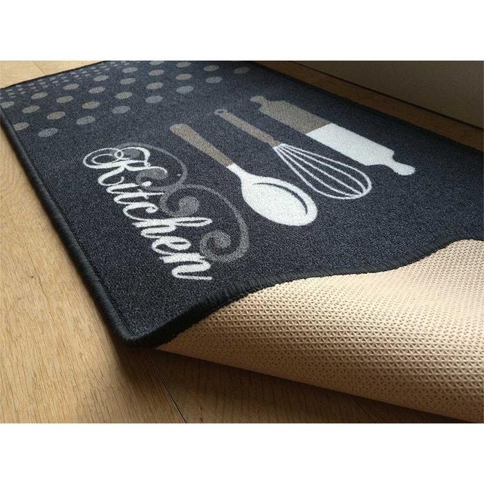 Tapis de cuisine gris motif kitchen gris anthracite Casame | La Redoute