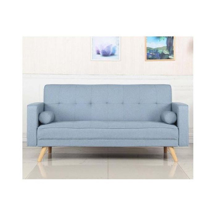 design intemporel 4e86f 7b2a9 Canapé Convertible Scandinave Tissu Bleu Clair KOLI
