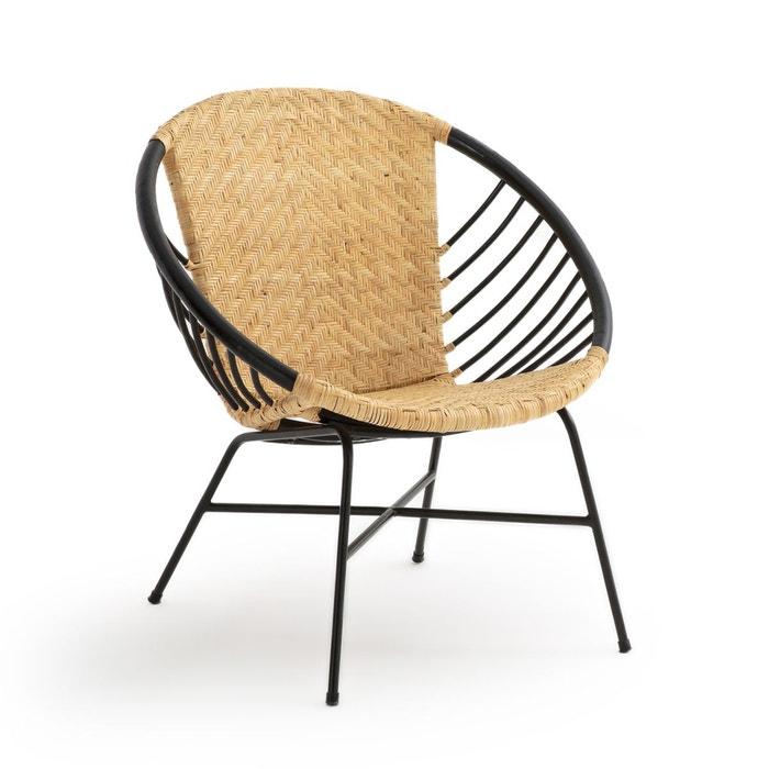 fauteuil boule rotin et m tal nihove naturel noir la. Black Bedroom Furniture Sets. Home Design Ideas